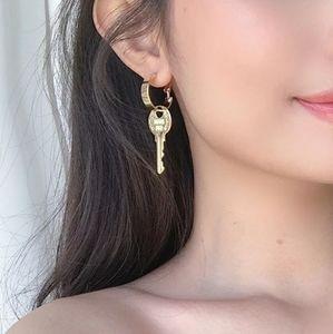Gold Key Shaped Pendant Charm Dangle Earrings